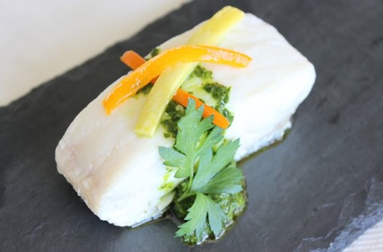 Parchment Baked Halibut with Parsley-Spinach Pesto