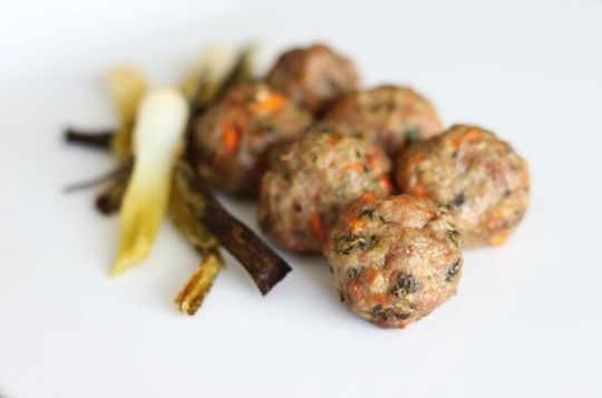 Ginger and Lemongrass Meatballs with Braised Scallions