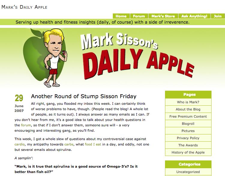 Mark's Daily Apple circa 2007