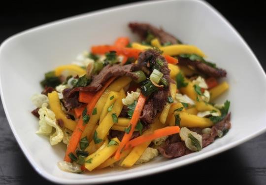 Steak and Mango Slaw with Scallion Garlic Oil