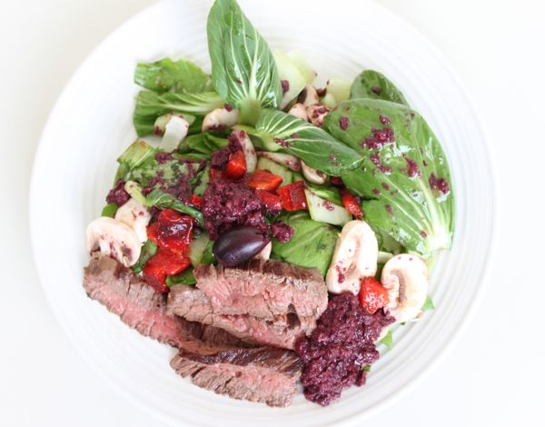 Chopped Bok Choy and Steak Salad with Olive Dressing