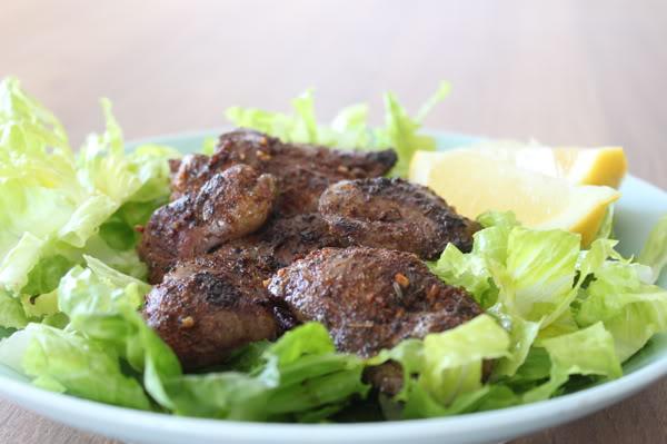 Cajun Blackened Chicken Livers with Lemon and Garlic