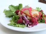 Raspberry Butter Sauce with Crispy Salmon and Salad Greens