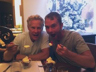 Paleo guy goes Primal for a night - Robb wolfs down a Sisson specialty: fresh berries with marscapone and whipped cream.