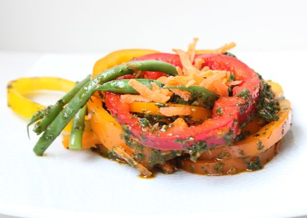 Brightly Colored Salad with Chermoula Dressing
