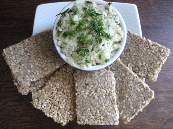 Sunflower Sesame Crackers and Prawn Pate