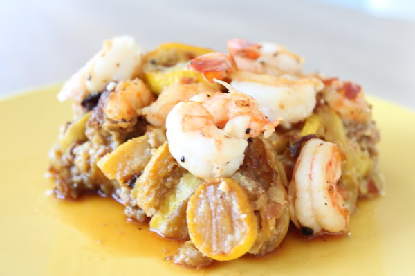 Shrimp, Sausage and Summer Squash Casserole