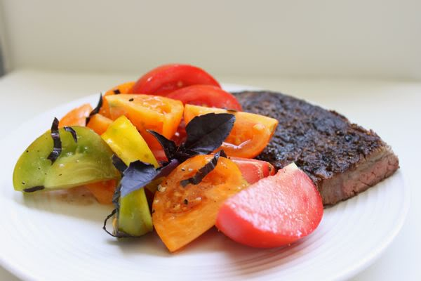 Heirloom Tomato Salad and Steak with Peppercorns and Purple Basil
