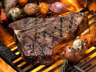 Charred Steak on Open Flame