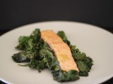 Salmon & Mustard Greens with Warm Vinaigrette
